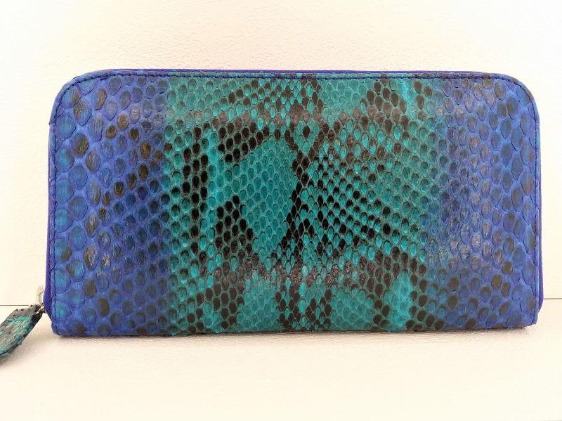 Женский кошелек из кожи Питона 18,5х9 см 2821c. PTWI 11/15 Blue