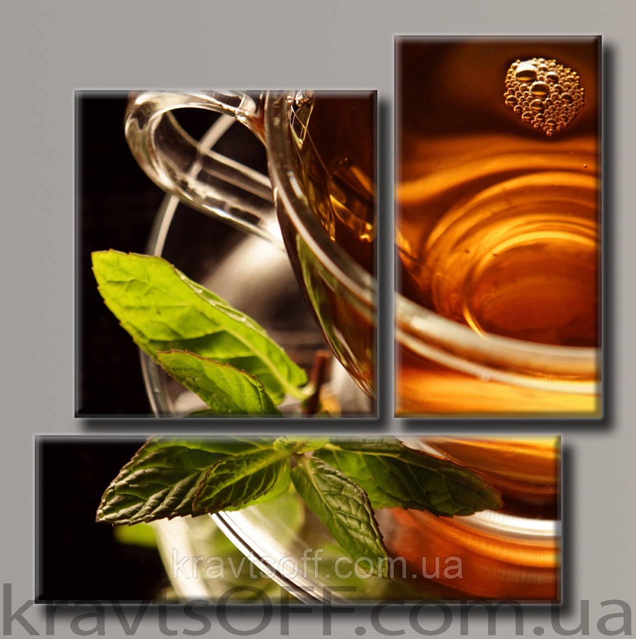"""Модульная картина на холсте из 3-х частей """"Чашечка чая"""" ( 57х57 см )"""
