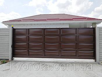 Филенчатые ворота и калитка (дизайн линза)