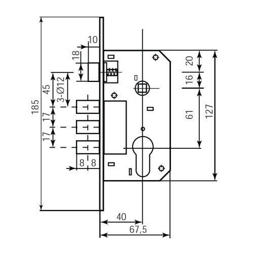Замок врізний механізм RDA 1025-62