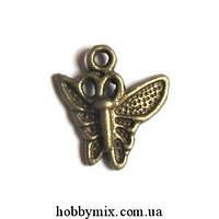"""Метал. подвеска """"бабочка"""" бронза (1,4х1,5 см) 25 шт в уп"""