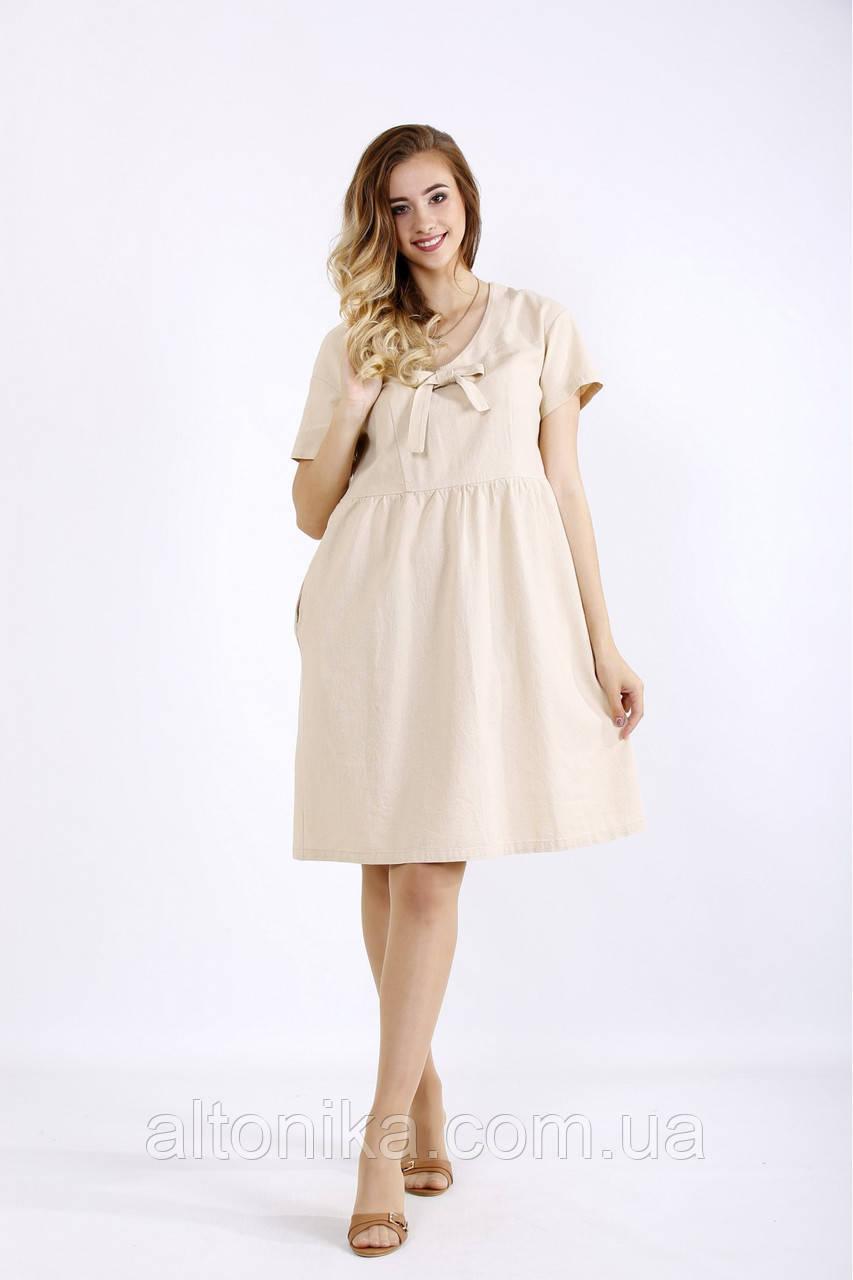 Легкое женское льняное платье / 42-74