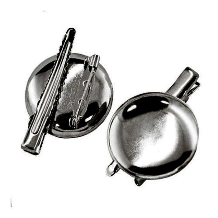 Основа брошь - заколка 2 в 1 Тарелочка 30 мм черная