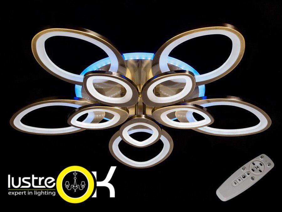 Люстра светодиодная квадратная LED люстра 3009/5+5 BR LED dimmer