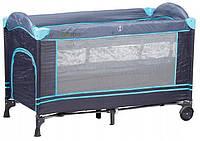 Детская кровать-манеж Ecotoys туристическая, синяя (дитяче ліжко-манеж туристичне синє), фото 1