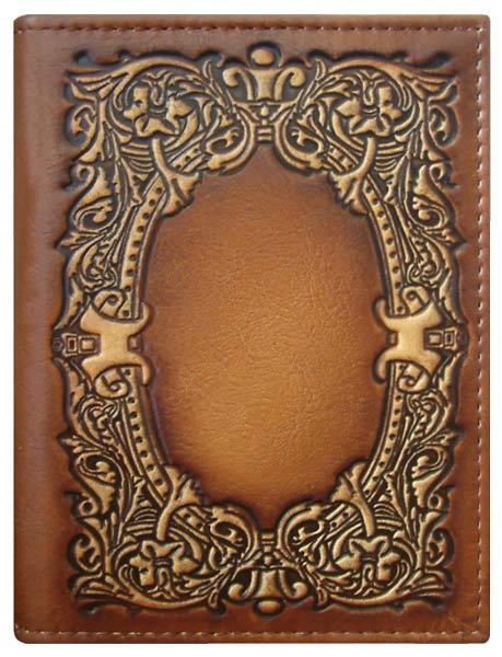 """Обкладинка на паспорт шкіряна з художнім тисненням """"Бароко"""". Колір коричневий"""