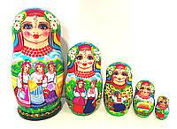 Матрьошка розписна українська 18 см велика, 5 штук, сюжетна матрьошка (3)