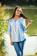 Хлопковая голубая блуза с вышивкой