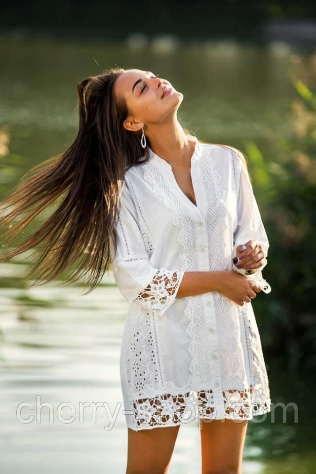 Хлопковая удлиненная блуза в белом цвете