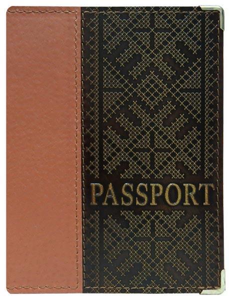 """Обложка на паспорт кожаная с художественным тиснением """"Евро"""". Цвет коричневый"""