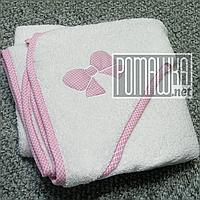 Качественное 95*95 детское махровое полотенце уголок с капюшоном уголком для купания новорожденных 4798 Розовы, фото 1