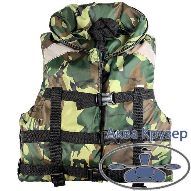 Страховочный жилет (спасжилет), 50-70 кг, с воротником, камуфляж, с сертификатом