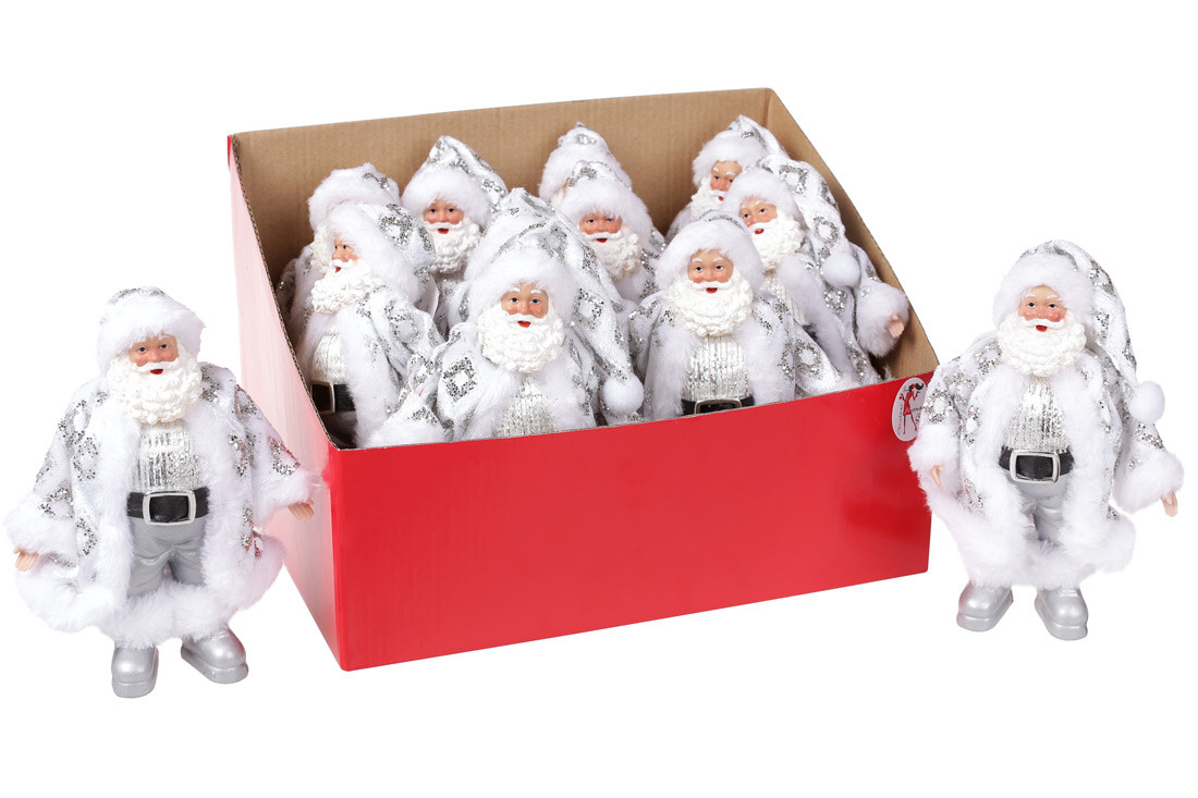 Новогодняя декоративная фигурка-подвеска Санта 17.5см в дисплей-коробке, цвет - белый с серебром (NY14-435)