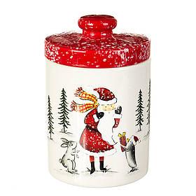 "Ёмкость для хранения ""Дед Мороз в лесу"" (16*10 см), 008NR"