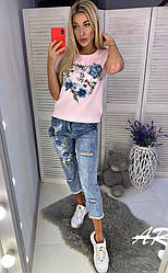 Джинсовый костюм с  футболкой, накатка и вышивка из бисера размер: S M L XL. (Фабричный Китай) (9061)