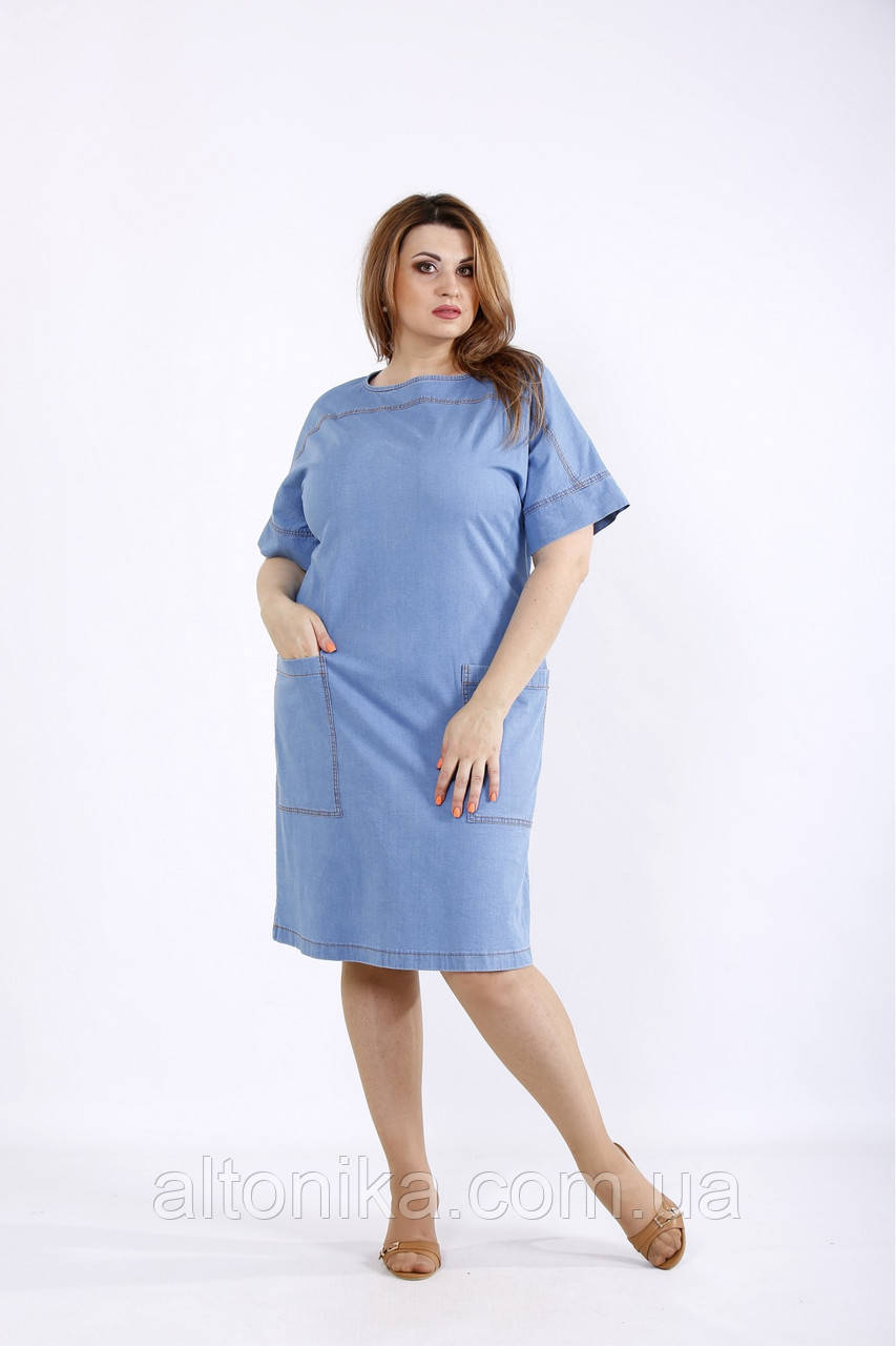 Голубое джинсовое платье с карманами / 42-74