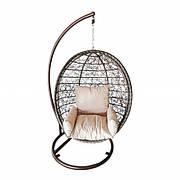 Плетеное подвесное кресло-качеля из ротанга искусственного cocoon c текстилем и стойкой - 1030х1160х1950мм