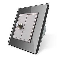 Спутниковая розетка SAT Livolo серый стекло (VL-C791ST-15), фото 1