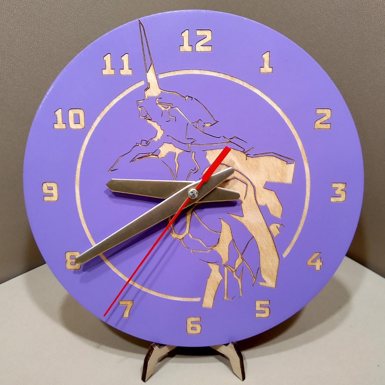 Часы настенные. Настенные деревянные часы Evangelion.