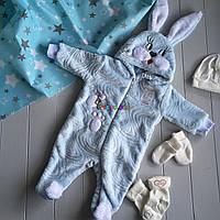 """Чоловічок дитячий теплий """"Зайчик"""" з капішоном і вушками (махра) 56, 62, 70 р-р блакитний, фото 1"""