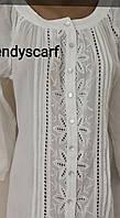 Женская летняя Туника Рубашка удлиненная  белая кружево.Удленненная рубашка с полукруглым низом. Хлопок. Индия