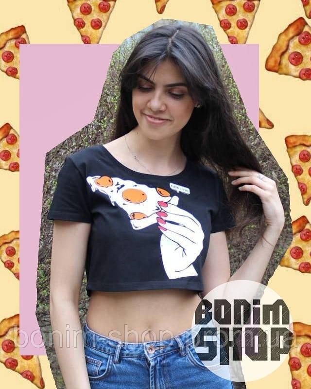 Черный топик с принтом Пицца в руке