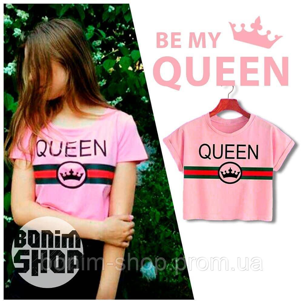 Розовый топик с принтом Queen и короной
