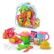 Детский игровой набор Посуда 9952  с продуктами, в рюкзаке Т