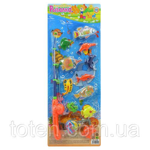 Детский игровой набор Рыбалка 1 удочка с магнитом, морские обитатели 12 шт. M 0052 U/R Т