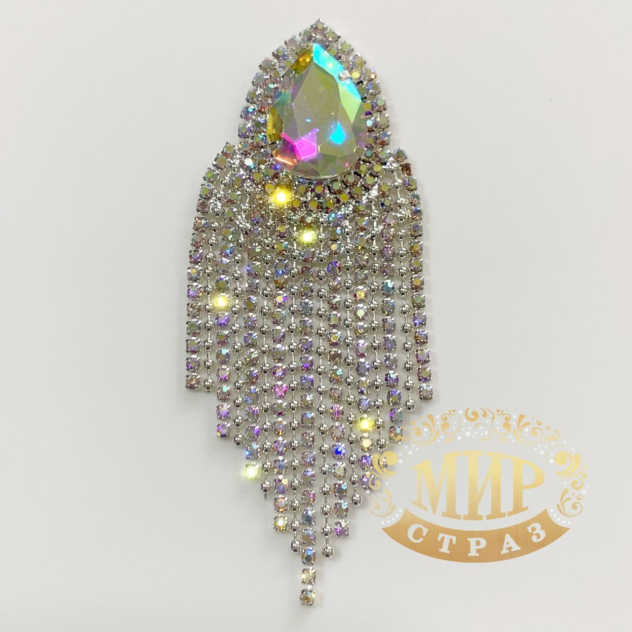 Хрустальный декор, цвет Crystal АВ, размер 3,5х10см, 1 шт