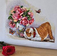 Набор для вышивки крестом Мережка К-94 «Бульдог и бабочки»