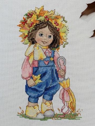 Набор для вышивки крестом Мережка К-100 «Осенняя девочка»