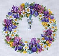 Набір для вишивки хрестом Мережка К-108 «Вінок з ірисами»
