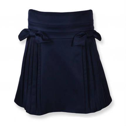 Школьная юбка с оригинальными бантами и складами  , размеры 122,128,134,140,146,152, синий, черный цвет, фото 2