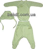 Детский костюм рост 56 (0-2 мес.) интерлок салатовый на мальчика/девочку (комплект на выписку) для новорожденных С-983