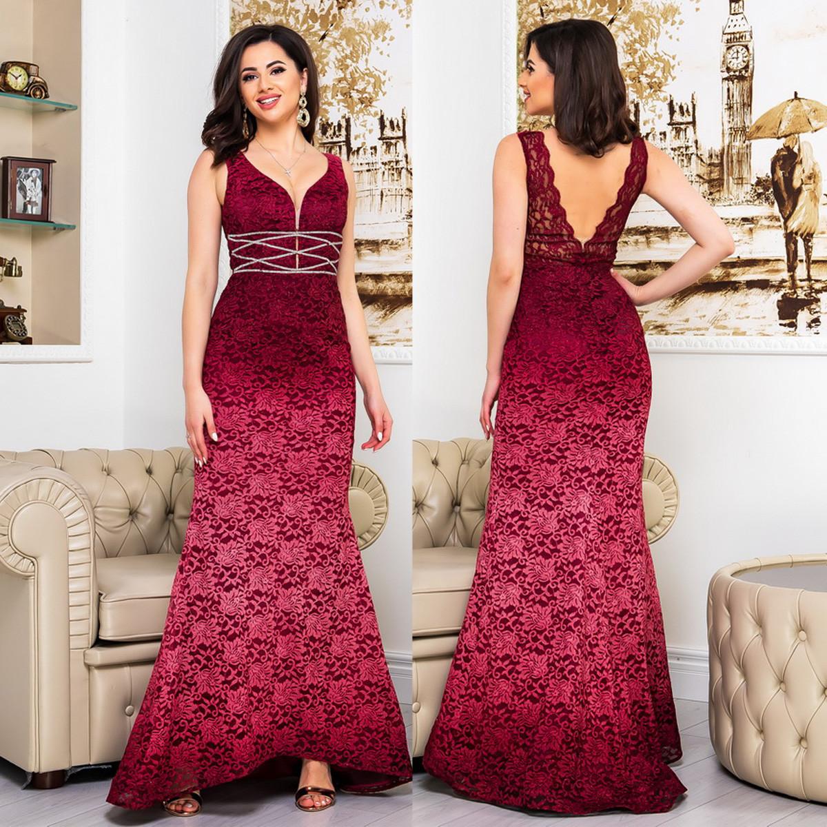 """Бордове гіпюрову довгу сукню зі шлейфом на випускний """"Орхідея"""""""