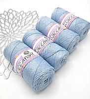 Трикотажный полиэфирный шнур с люрексом PP Macrame, цвет Небесно-голубой