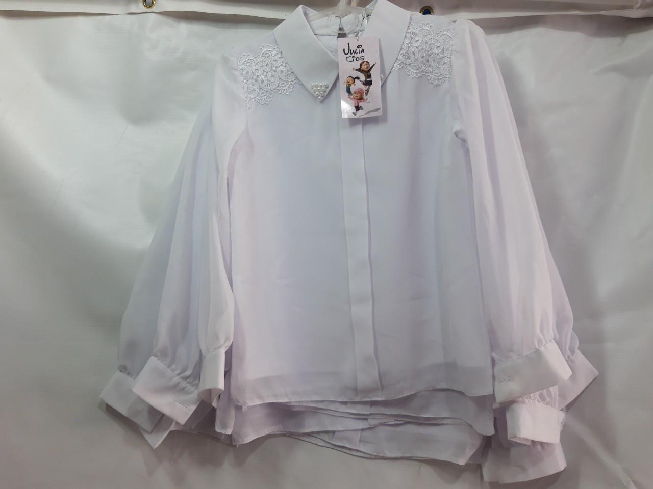 Школьная блузка для девочки р.122-146 опт белая