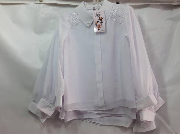 Школьная блузка для девочки р.122-146 опт белая, фото 2