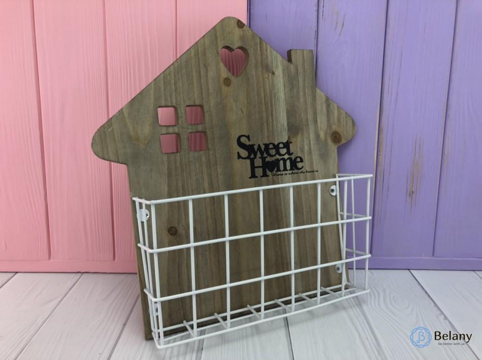 Деревянная подставка Sweet home в форме домика 30х7х31см декоративное украшение