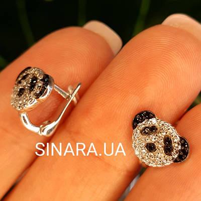 Срібні дитячі сережки Панда - Сережки для дівчинки срібло