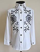 Блузка школьная рубашка на девочек 5-12 лет с вышивкой детская