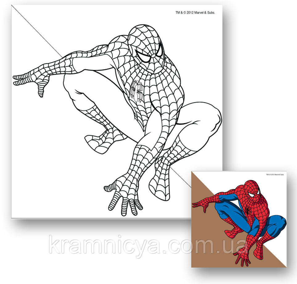 Холст с контуром 'Человек-паук' (25х25см) с красками