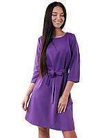 Яркое фиолетовое платье с пояском (в размерах M-XL)