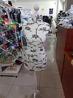 Манекен женский р40 портновский полутвердый цв узор черно белый+стойка Тренога