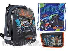 """Набор: рюкзак ортопедический + сумка для обуви + пенал «1 Вересня» """"Off-road"""" H-12, 555938-1"""