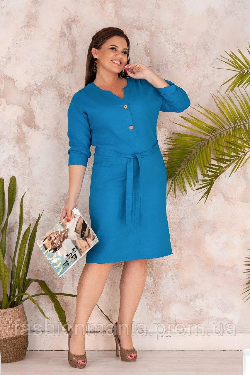 Стильное батальное платье из льна с поясом