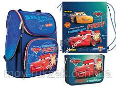 """Набор: рюкзак ортопедический + сумка для обуви + пенал «1 Вересня» """"Cars"""" H-11, 556154-1"""