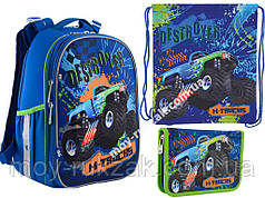 """Набор: рюкзак ортопедический + сумка для обуви + пенал H-25 """"M-Trucks"""" «Yes», 556187-1"""