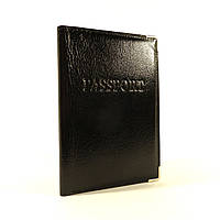 Мужская кожаная обложка для паспорта Desisan уголок черная, расцветки в наличии